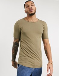 Bershka Join Life Organic Cotton Slim Fit T Shirt In Khaki Green