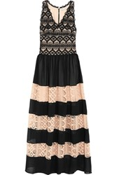 Alice Olivia Tilly Paneled Chiffon And Cotton Lace Maxi Dress Black