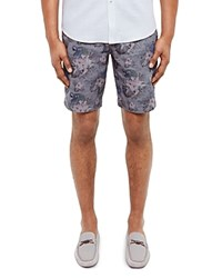 Ted Baker Parrot Floral Print Oxford Shorts Blue