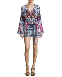 Camilla Belted V Neck Bell Sleeve Silk Playsuit From Kaili With Love Multi