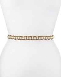Deepa Gurnani Pearl Scalloped Crystal Belt Gold