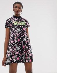Cheap Monday Organic Cotton Roses Are Dread Mixed Print Dress Black