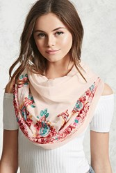 Forever 21 Paisley Embroidered Scarf Blush Multi