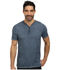 Dkny Short Sleeve Yarn Dyed Stripe Beaten Pigment Wash Y Henley Black Iris Men's Clothing
