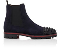 Christian Louboutin Men's Melon Spikes Flat Suede Chelsea Boots Black