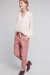 Anthropologie Striped Linen Joggers Pink