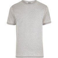 River Island Mens Light Grey Burnout T Shirt