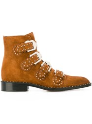 Givenchy Studded Ankle Boots Brown