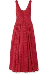 Cult Gaia Angela Buckled Broderie Anglaise Cotton Midi Dress Red