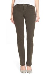 Nydj 'Marilyn' Straight Leg Sueded Stretch Twill Pants Petite Green