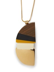 Marni Semi Circle Wood Block Necklace Gold Multi