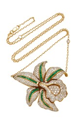 Shay One Of A Kind Diamond And Emerald Lotus Flower Necklace White