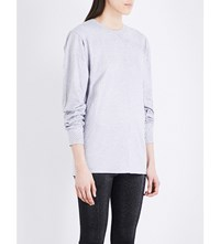Area Crystal Embellished Cotton Jersey T Shirt Heathered Grey