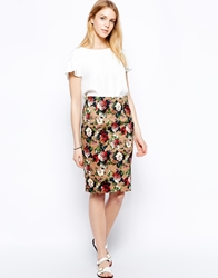 Traffic People Floral Pencil Skirt Brown