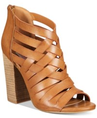 Mojo Moxy Dolce By Dakota Block Heel Sandals Women's Shoes Cognac