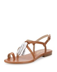 Bettye Muller Sandy Leather Tassel Sandal Tan