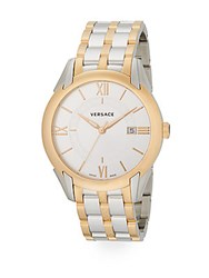Versace Apollo Two Tone Stainless Steel Watch Silver Gold