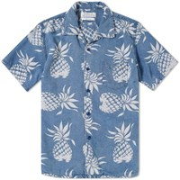 Remi Relief Short Sleeve Pineapple Print Vacation Shirt Blue