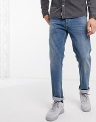Replay Grover Straight Fit Jeans In Mid Wash Blue