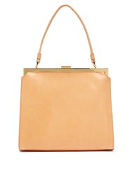 Mansur Gavriel Elegant Top Handle Leather Bag Tan