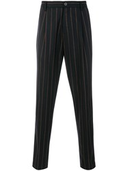Tomorrowland Boucle Pinstripe Trousers Nylon Polyurethane Cupro Wool Blue