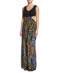 L Space Swimwear By Monica Wise Moroccan Dreams Printed Maxi Dress Black