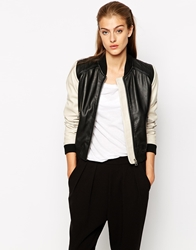 Mango Leather Colorblock Bomber Jacket Black
