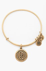Women's Alex And Ani 'Initial' Adjustable Wire Bangle Q Russian Gold