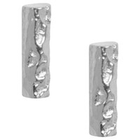 Matthew Calvin Small Meteorite Bar Stud Earrings Silver