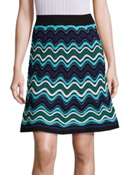 M Missoni Ripple Stripe Knit A Line Skirt Turquoise Multi