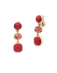 Anne Klein Epoxy Stone Goldtone Triple Drop Earrings Coral