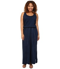 Dkny Plus Size Knit Denim Maxi Dress W Mesh Indigo Women's Dress Blue