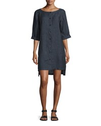 Eileen Fisher Organic Linen Button Front Dress Denim Blue Petite Women's