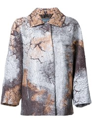 Alberta Ferretti Stained Metallic Grey Effect Coat