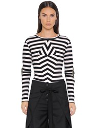 Maison Martin Margiela Striped Ribbed Cotton Jersey Sweater
