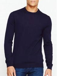 Aquascutum London Rolfe Cc Crew Neck Knit Navy