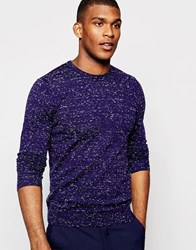 Reiss Crew Neck Knitted Jumper With Fleck Navy