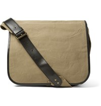 Dries Van Noten Leather Trimmed Canvas Messenger Bag Sand