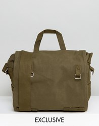 Reclaimed Vintage Canvas Messenger Bag Green Green