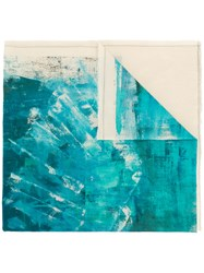 Lost And Found Ria Dunn Paint Print Scarf Cotton Blue