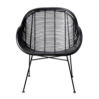 Bloomingville Lounge Braided Rattan Chair Black