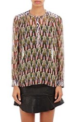 Isabel Marant Silk Chiffon Pilay Peasant Top Multi
