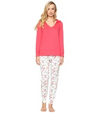 Bedhead French Terry Long Sleeve Hoodie And Jogger Pants Set Taffy Women's Pajama Sets Pink