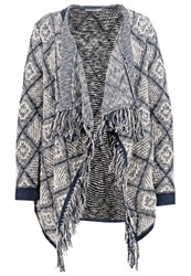 Oasis Huntsman Cardigan Navy And Ivory Off White