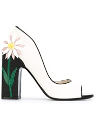 Fabrizio Viti Open Toe Daisy Heel Pumps Women Calf Leather Leather 40 White