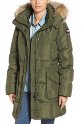 Pajar Women's Bryce Three Quarter Quilted Down Coat With Detachable Genuine Fur Hood Military