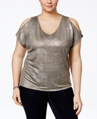 Inc International Concepts Plus Size Cold Shoulder Metallic Top Only At Macy's Taupe