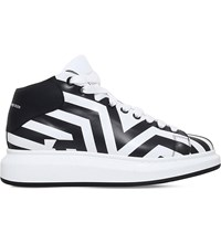 Alexander Mcqueen Wedge Dazzle Mid Top Trainers Blk White