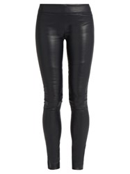 The Row Moto Stretch Leather Leggings Navy
