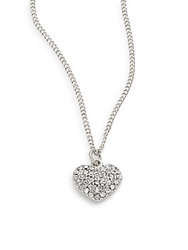 Sequin Pave Heart Necklace Silver